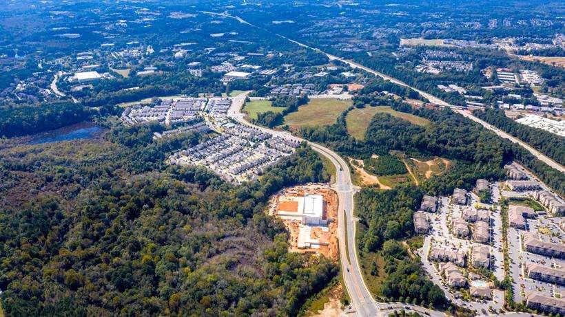 An aerial view of Johns Creek, GA.