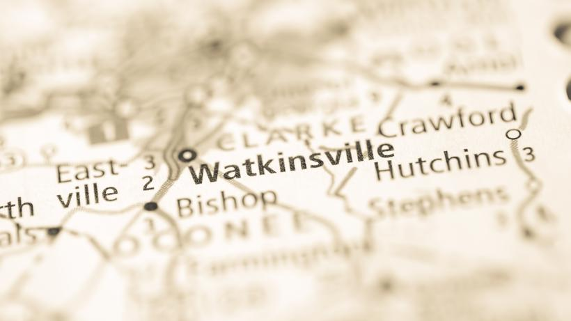 A map with Watkinsville, GA.