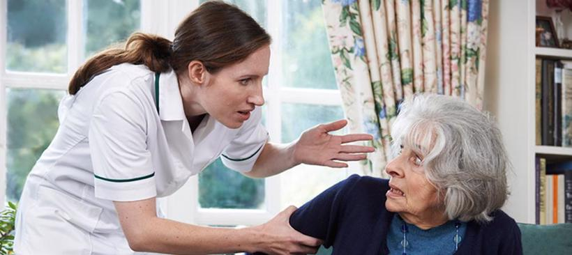 A nurse verbally abuses an elderly woman in a nursing home in Atlanta