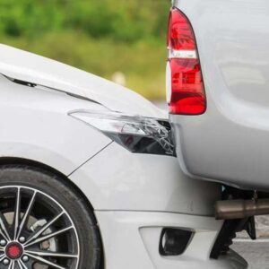 A rear-end car accident.