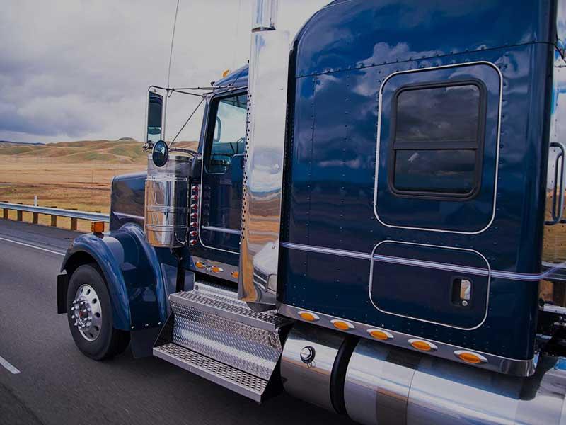Blue tuck on highway
