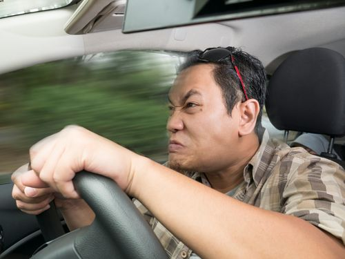 Man with road rage, reckless driving.