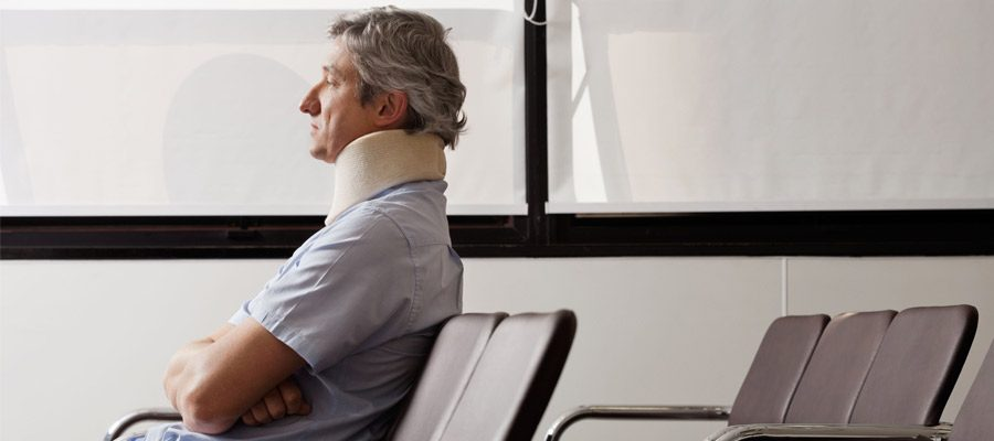 Picture of a person at hospital after a whiplash injury